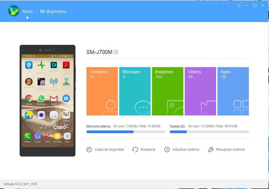 Huawei HiSuite pantalla android negra