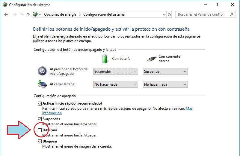 activar hibernar en menu de inicio de Windows 10