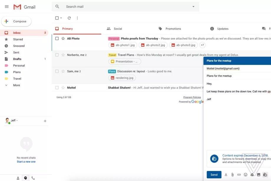 Modo confidencial actualizacion de Gmail