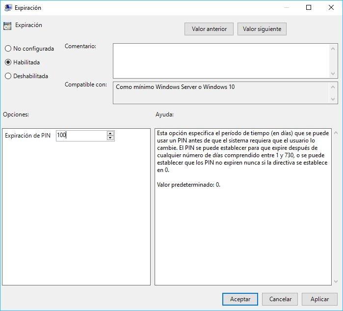 Configurar PIN de Seguridad en Windows 10