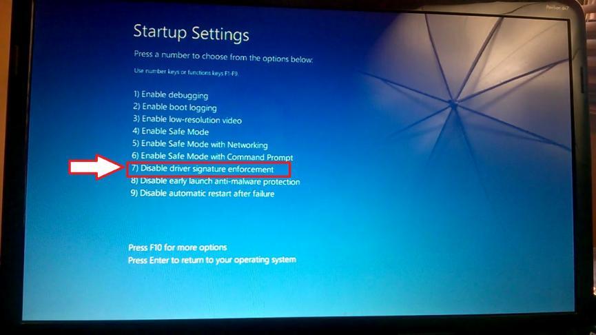 Desactivar restriccion controladores no firmados por Microsoft