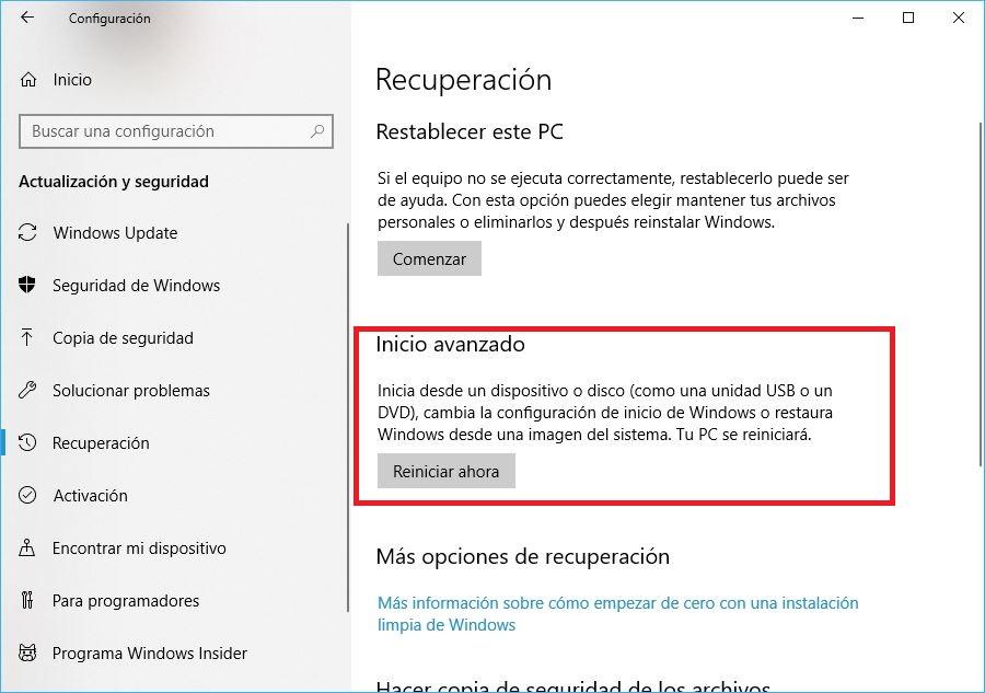 reiniciar Windows 10 con opciones avanzadas