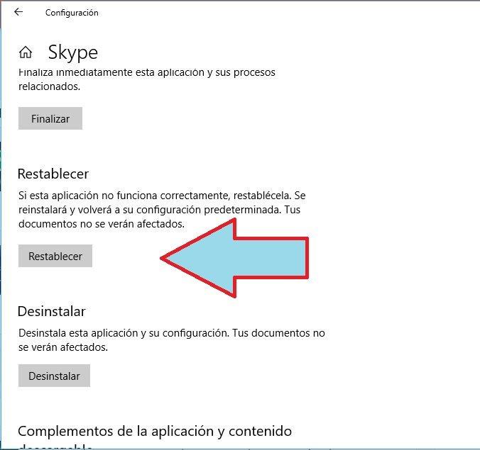 restablecer skype en Windows 10