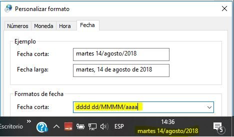 mostrar dia en la barra de tareas de Windows 10