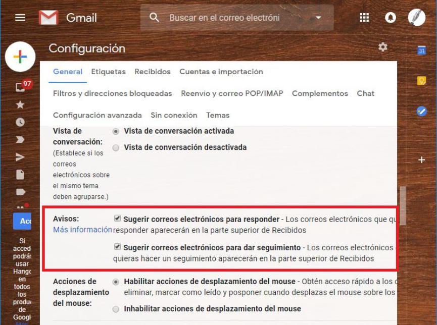 Activar o desactivar Avisios en Gmail
