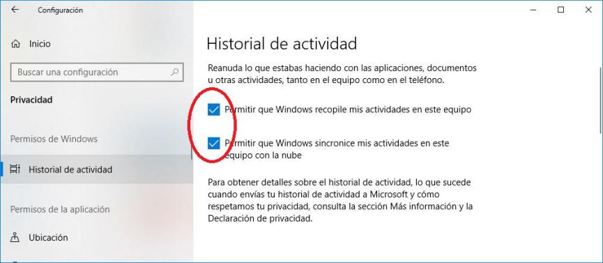 linea de tiempo en Windows 10
