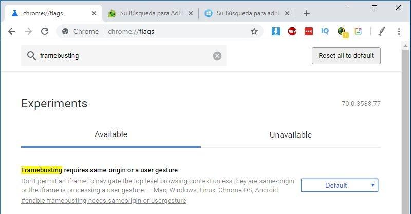 Bloquear Publicidad Google Chrome con una bandera