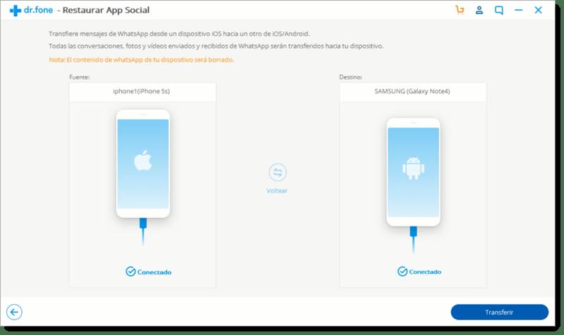 pasar Mensajes de WhatsApp Android a iOS