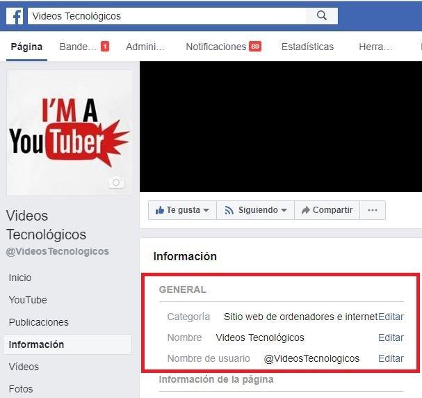 cambiar nombre de pagina de facebook
