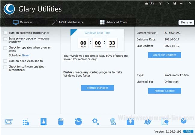 Glary Utilities Pro 5.1 License Key Free for 1 Year 2021