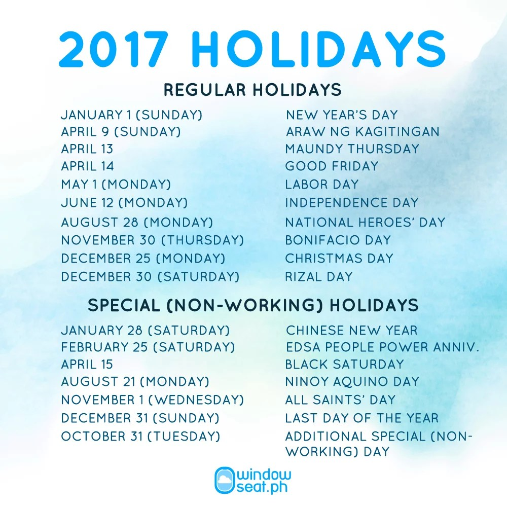 2017 Official Holidays WindowSeat