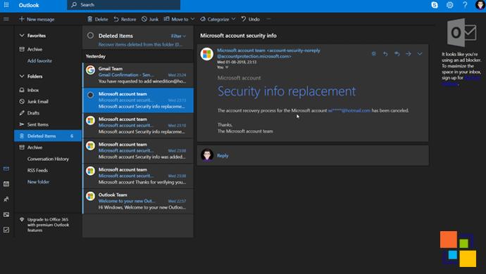Turn on Dark Mode in Outlook.com