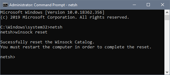 reset winsock failed to connect to a windows service