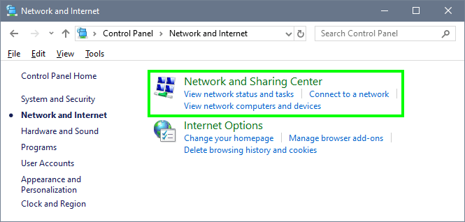 network and sharing center err_name_not_resolved
