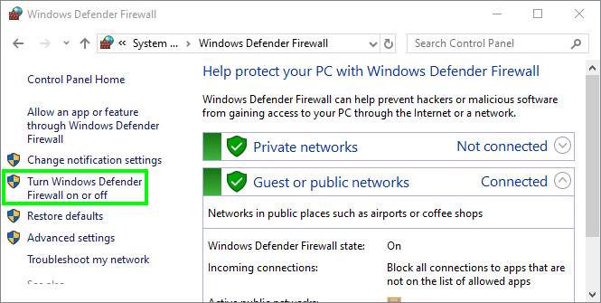 disable firewall err_name_not_resolved