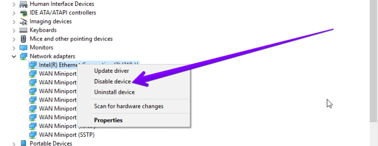 disable network adapter device manager