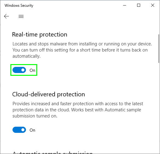 real time protection disabled