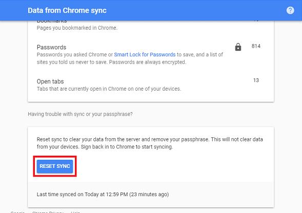 restablecer sincronización google