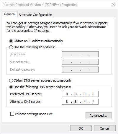 google dns err_network_changed