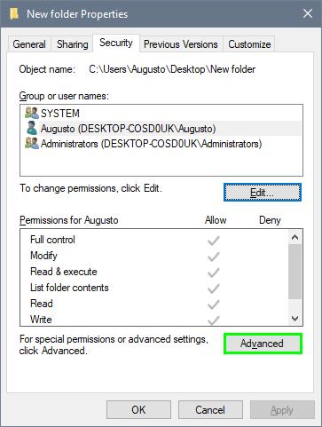 advanced folder permission