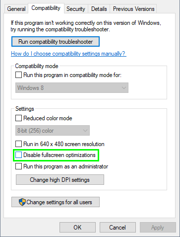 disable fullscreen optimizations windows 10
