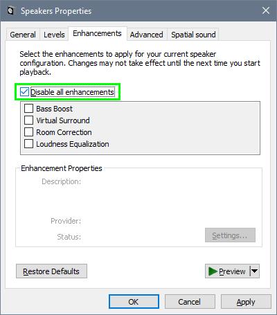 disable all enhancements windows 10