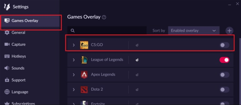 disable overlay overwolf