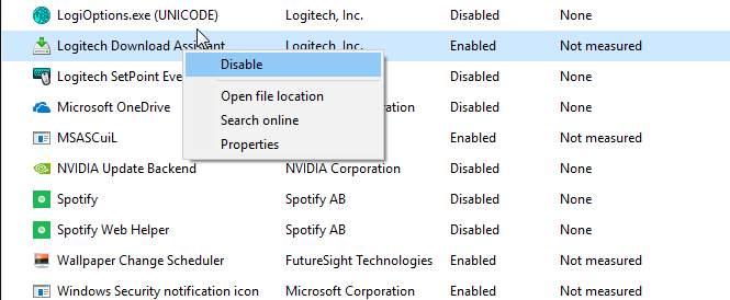 disable logitech download assistant