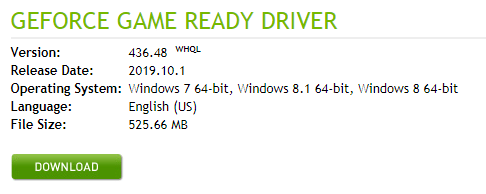 download button nvidia driver