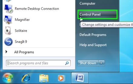 start menu control panel windows 7