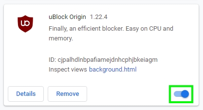 disable adblocker chrome