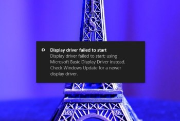 display driver failed to start