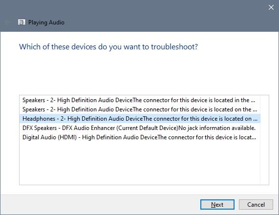 choose headphones troubleshooter laptop