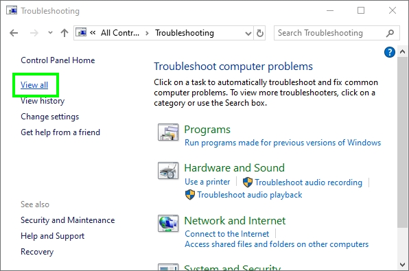 view all troubleshooters