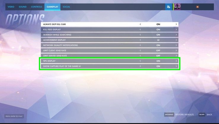 disable gameplay settings overwatch