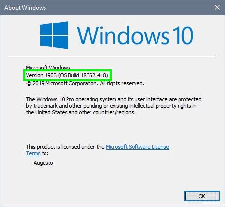 windows 10 version about