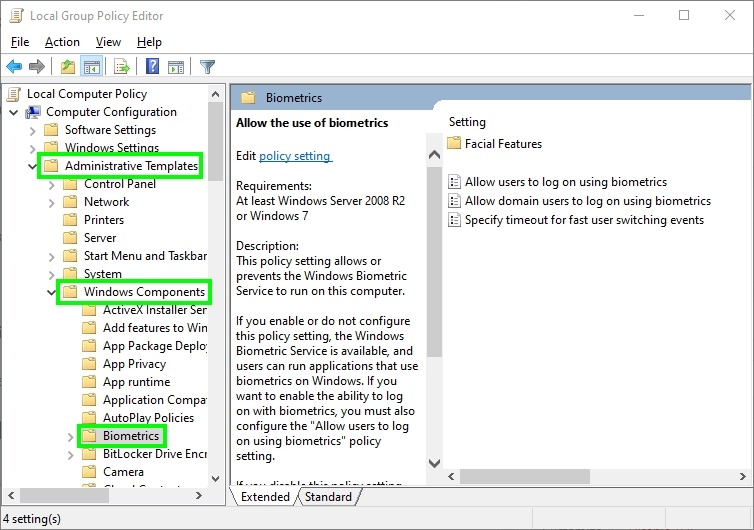 biometrics windows 10 group policy