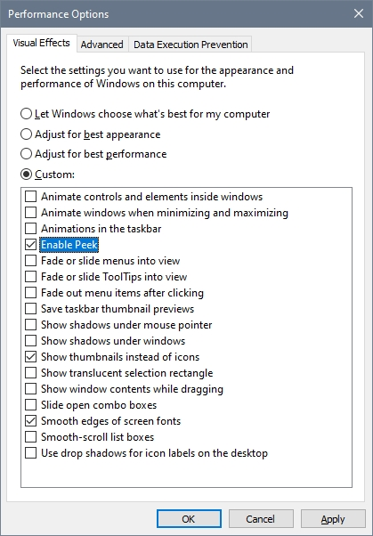 enable peek windows 10
