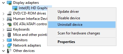 uninstall graphics card device manager