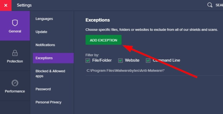 add exception avast antivirus