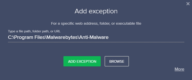 malwarebytes exception