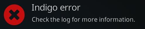 indigo error message