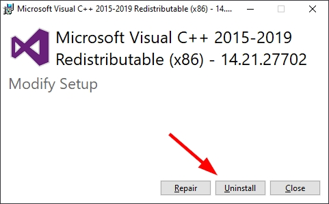 uninstall visual c++ 2015