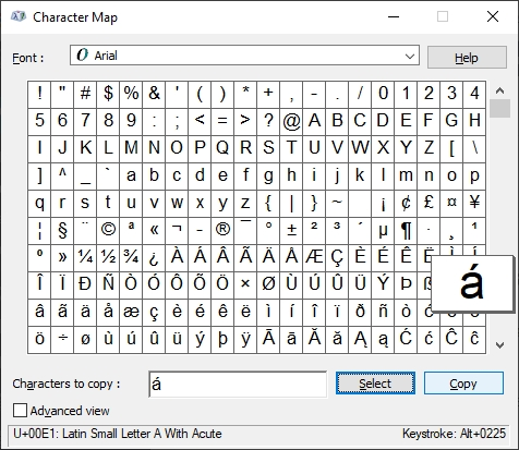 a with accent character map