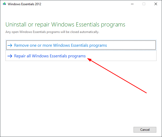 repair all windows essentials programs