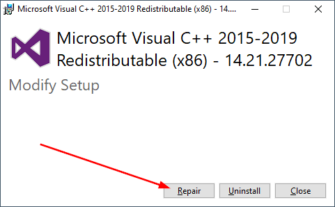 microsoft visual 2015 repair