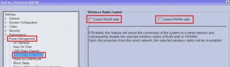 disable wireless bios
