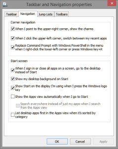 Taskbar and Navigation properties What is the best Start menu replacements for Windows 8 start menu