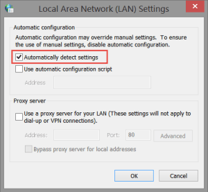 LAN Settings: Automatically Detect Fix: 0x80244018 This App Couldn't Be Installed 0x80244018