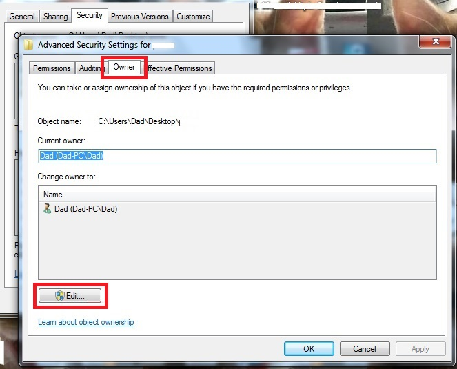 Owner Tab How to gain access to locked files locked files